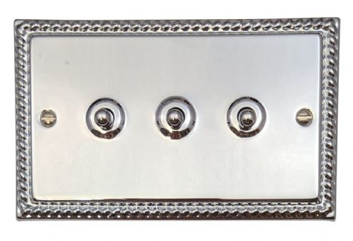 G&H MC283 Monarch Roped Polished Chrome 3 Gang 1 or 2 Way Toggle Light Switch